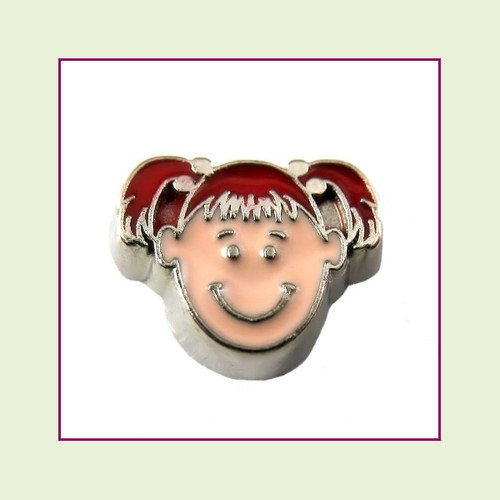 Girl #2 Pigtails - Red Hair (Silver Base) Floating Charm