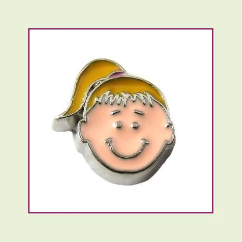 Girl #3 Ponytail - Blonde Hair (Silver Base) Floating Charm