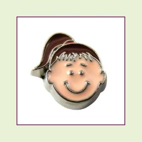 Girl #3 Ponytail - Dark Brown Hair (Silver Base) Floating Charm