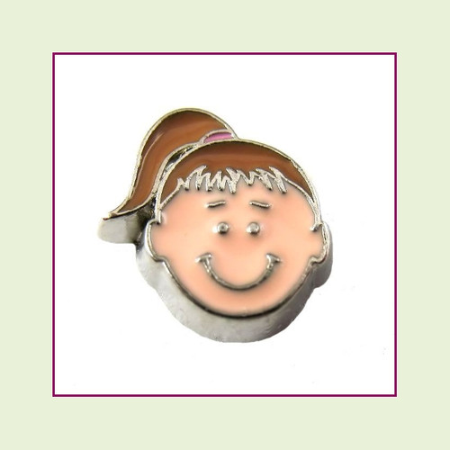 Girl #3 Ponytail - Light Brown Hair (Silver Base) Floating Charm