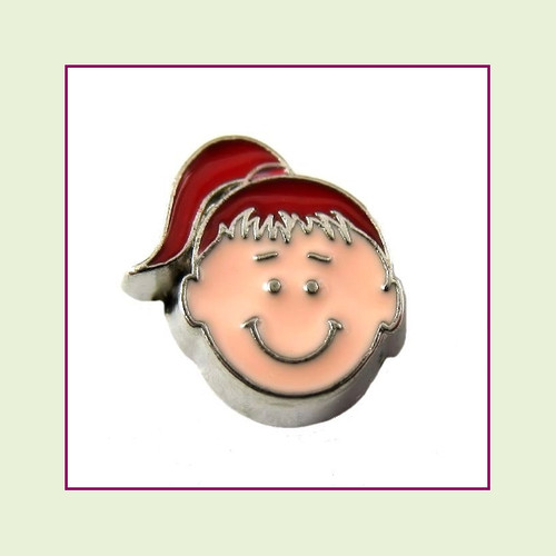 Girl #3 Ponytail - Red Hair (Silver Base) Floating Charm