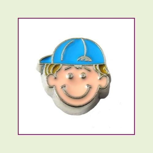 Boy #2 Ballcap - Blonde Hair (Silver Base) Floating Charm