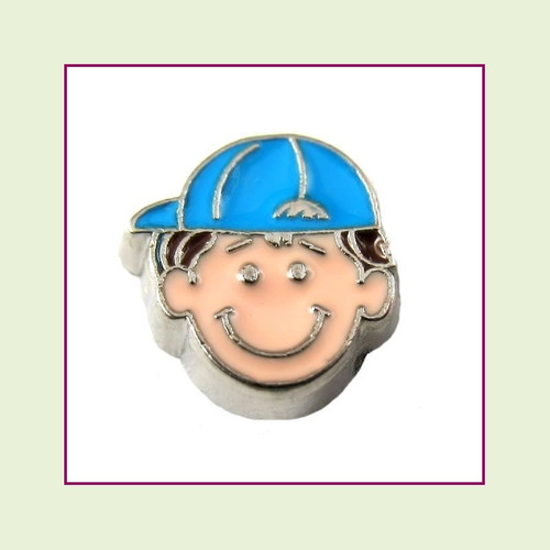 Boy #2 Ballcap - Dark Brown Hair (Silver Base) Floating Charm