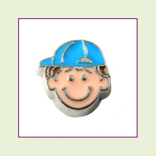 Boy #2 Ballcap - Light Brown Hair (Silver Base) Floating Charm