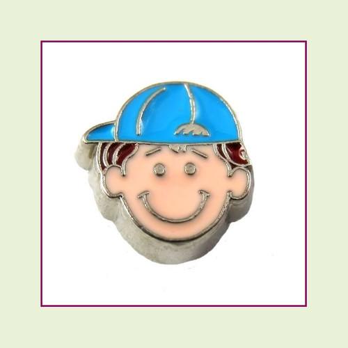 Boy #2 Ballcap - Red Hair (Silver Base) Floating Charm