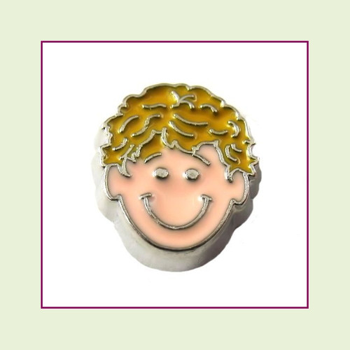 Boy #3 Curly Hair - Blonde Hair (Silver Base) Floating Charm