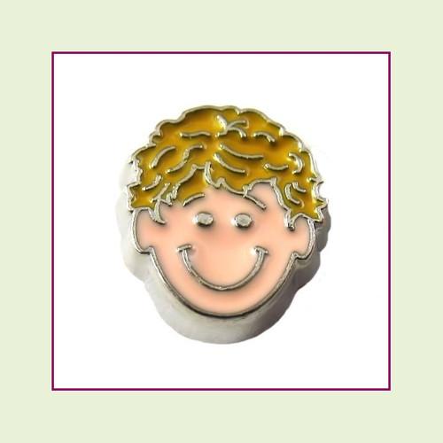 Boy #3 Curly Hair - Blonde Hair (Silver Base) Floating Charm