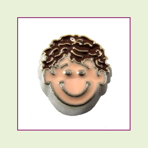 Boy #3 Curly Hair - Dark Brown Hair (Silver Base) Floating Charm