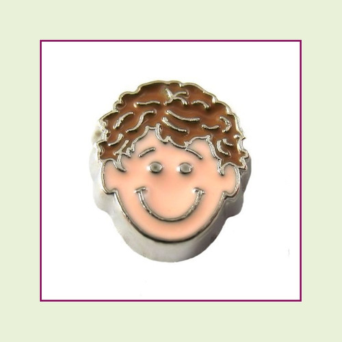 Boy #3 Curly Hair - Light Brown Hair (Silver Base) Floating Charm
