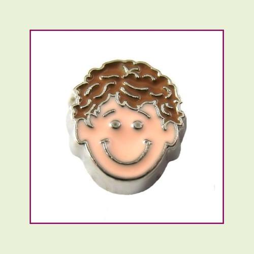 Boy #3 Curly Hair - Light Brown Hair (Silver Base) Floating Charm