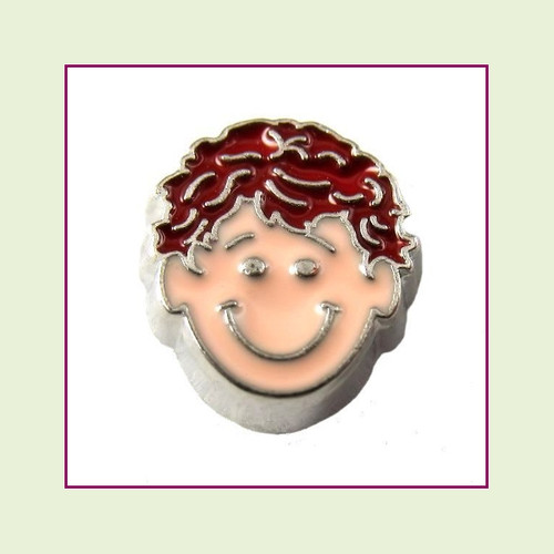 Boy #3 Curly Hair - Red Hair (Silver Base) Floating Charm