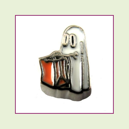 Trick or Treat Ghost (Silver Base) Floating Charm