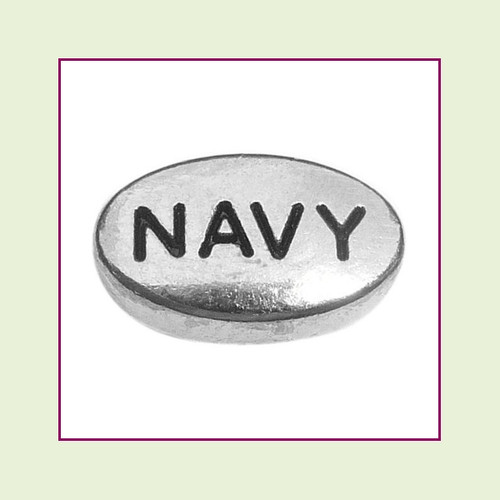 Navy on Silver Oval Floating Charm
