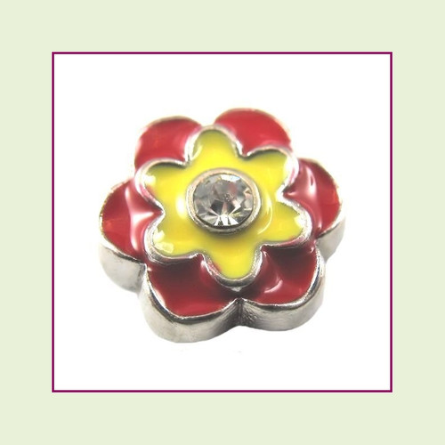 Red and Yellow CZ Flower (Silver Base) Floating Charm