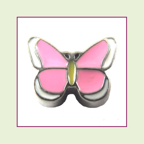 Butterfly Enamel Pink (Silver Base) Floating Charm