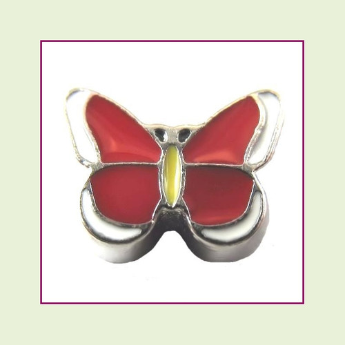 Butterfly Enamel Red (Silver Base) Floating Charm
