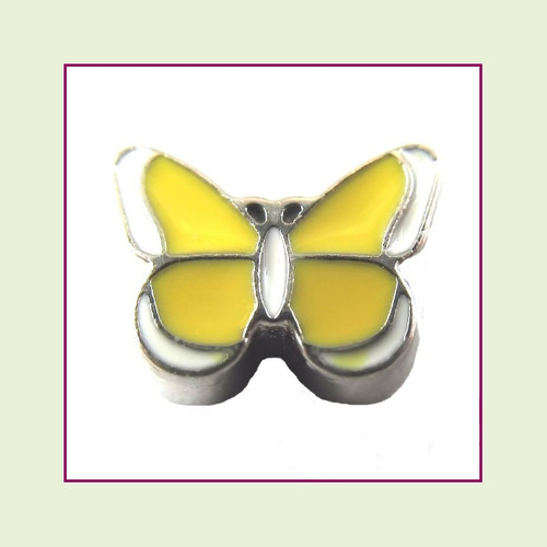 Butterfly Enamel Yellow (Silver Base) Floating Charm