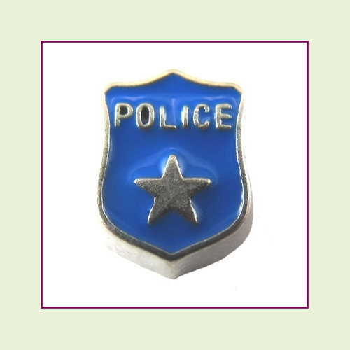 Police Badge (Silver Base) Floating Charm