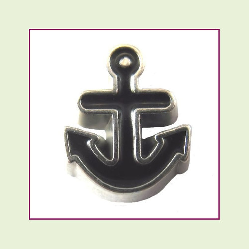 Anchor Black (Silver Base) Floating Charm