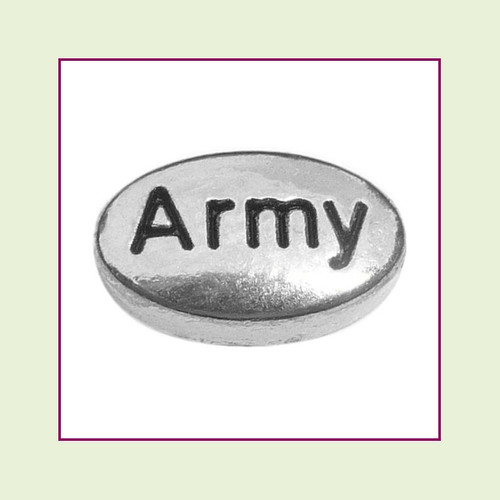 Army on Silver Oval Floating Charm