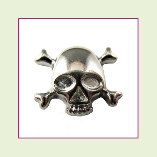 Skull and Crossbones Silver Floating Charm