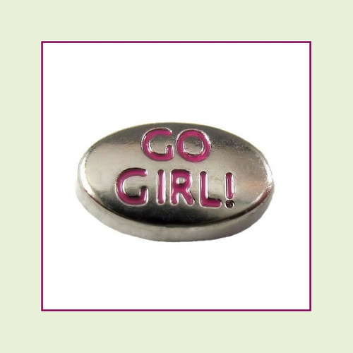 Go Girl on Silver Oval Floating Charm