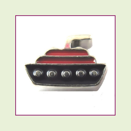 Cruise Ship Blue & Red (Silver Base) Floating Charm