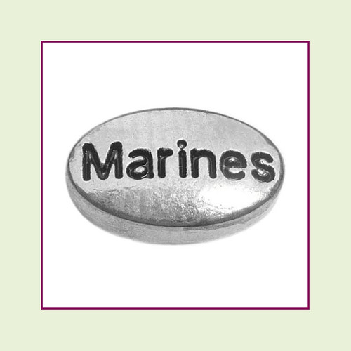 Marines on Silver Oval Floating Charm