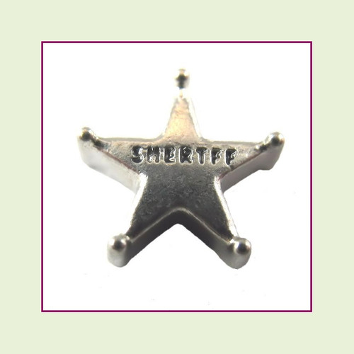 Sheriff Star Silver Floating Charm