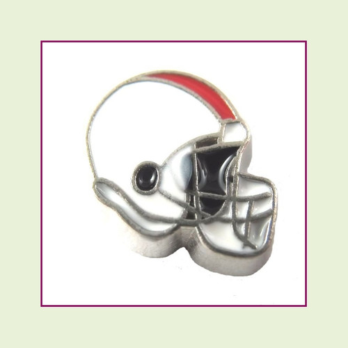 Football Helmet - White with Red Stripe (Silver Base) Floating Charm