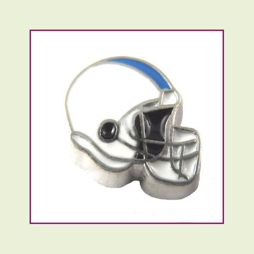 Football Helmet - White with Sky Blue Stripe (Silver Base) Floating Charm
