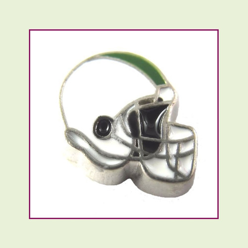 Football Helmet - White with Green Stripe (Silver Base) Floating Charm
