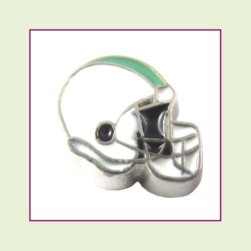 Football Helmet - White with Teal Stripe (Silver Base) Floating Charm