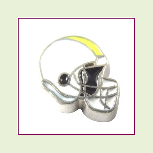Football Helmet - White with Yellow Stripe (Silver Base) Floating Charm