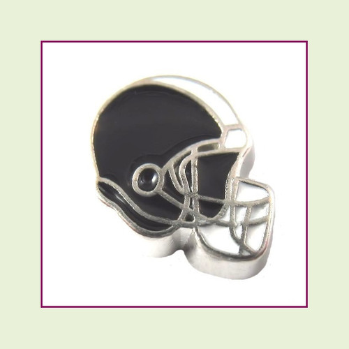 Football Helmet - Black with White Stripe (Silver Base) Floating Charm