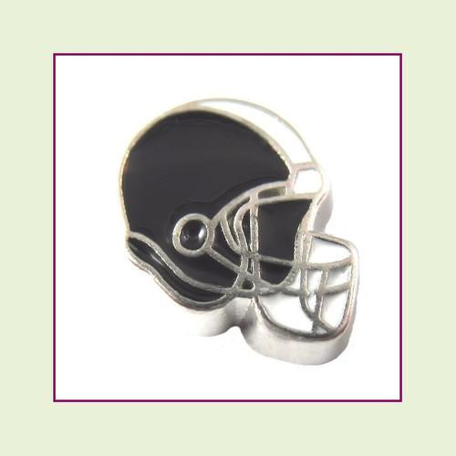 Football Helmet - Black with White Stripe (Silver Base) Floating Charm