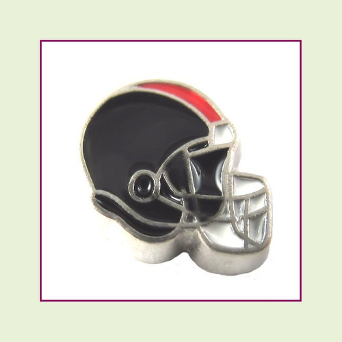 Football Helmet - Black with Red Stripe (Silver Base) Floating Charm