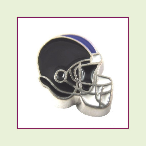 Football Helmet - Black with Purple Stripe (Silver Base) Floating Charm