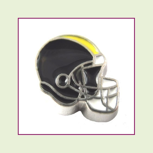 Football Helmet - Black with Gold Stripe (Silver Base) Floating Charm