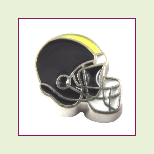 Football Helmet - Black with Yellow Stripe (Silver Base) Floating Charm