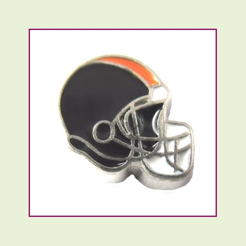 Football Helmet - Black with Orange Stripe (Silver Base) Floating Charm