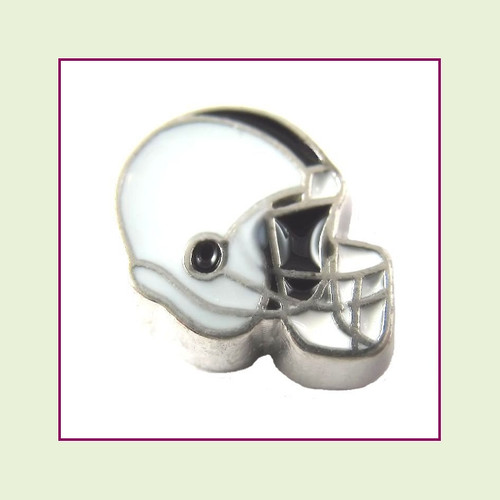 Football Helmet - Light Gray with Black Stripe (Silver Base) Floating Charm