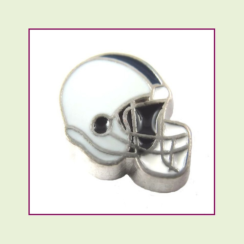Football Helmet - Light Gray with Navy Blue Stripe (Silver Base) Floating Charm
