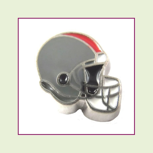 Football Helmet - Dark Gray with Red Stripe (Silver Base) Floating Charm