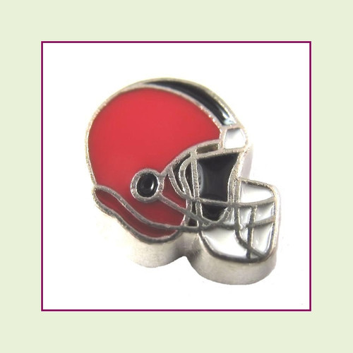 Football Helmet - Red with Black Stripe (Silver Base) Floating Charm