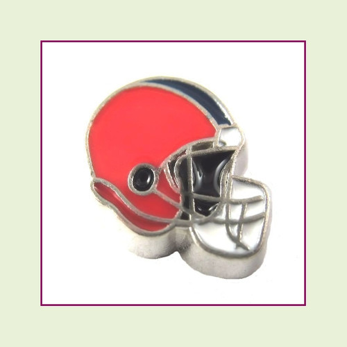 Football Helmet - Red with Navy Blue Stripe (Silver Base) Floating Charm