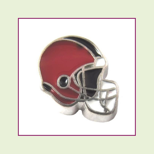 Football Helmet - Dark Red with Black Stripe (Silver Base) Floating Charm