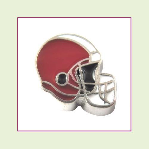 Football Helmet - Dark Red with White Stripe (Silver Base) Floating Charm
