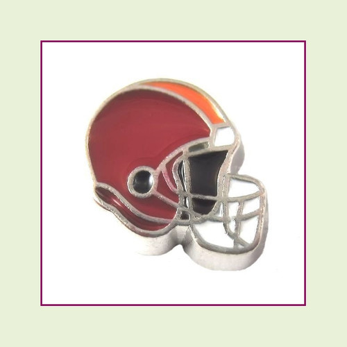 Football Helmet - Dark Red with Orange Stripe (Silver Base) Floating Charm