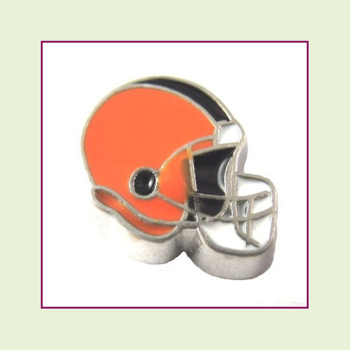 Football Helmet - Orange with Black Stripe (Silver Base) Floating Charm